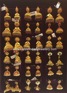 Different designs of South Indian Jhumkas in 22 karat gold varying from temple design to antique stylish earrings are displayed here. Gold Mangalsutra Designs, Gold Earrings Designs, Jewellery Designs, Indian Jewellery Design, Jewelry Patterns, Gold Temple Jewellery, 1 Gram Gold Jewellery, India Jewelry, Gold Jhumka Earrings