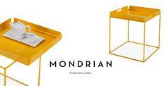 Mondrian metal tray table - yellow