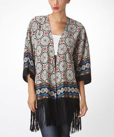 Loving this Black Mosaic Fringe Open Cardigan on #zulily! #zulilyfinds