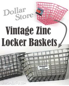 Faux Vintage Zinc Locker Baskets (Ballard Designs Knock Off) is part of diy-home-decor - How to turn plastic dollar store baskets into vintage inspired galvanized zinc locker baskets Dollar Store Hacks, Astuces Dollar Store, Dollar Stores, Dollar Store Organization, Organizing Ideas, Ikea Office Organization, Dollar Dollar, Organizing Life, Storage Organization