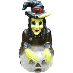 Halloween Witch Bank Candy Container found at www.rubylane.com #vintagebeginshere #vintagehalloween