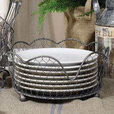 Home Decorators Collection Wire Plate Holder - would be a great design element for holding plates kept on open shelving in kitchen! Paper Plate Holders, Bath Shelf, Plate Racks, Plate Storage, Chicken Wire, Utensil Holder, French Provincial, Vintage Industrial, Country Kitchen