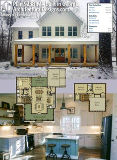 Our client built Architectural Designs Modern Farmhouse Plan 92381MX on their water-view lot in Georgia. 3BR | 2.5BA | 2,100+SQ.FT. | Ready when you are. Where do YOU want to build? #92381MX #adhouseplans #architecturaldesigns #houseplan #architecture #newhome #newconstruction #newhouse #homedesign #dreamhome #dreamhouse #homeplan #architecture #architect #housegoals #Modernfarmhouse #Farmhouse