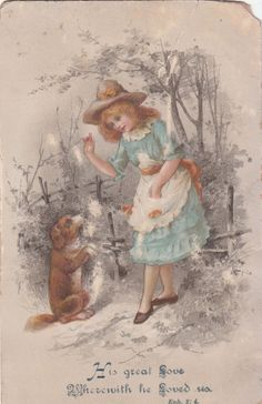 His Great Love Girl with Dog in Woods Religious Victorian Card C 1880s | eBay