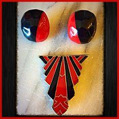 Art Deco Set Brooch & Pierced Earrings.Bold Black and Red Gold Accent 90s Red Gold, Red Black, Pierced Earrings, Black Enamel, Gold Accents, Earring Set, Etsy Store, Art Deco, Brooch