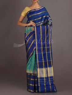 Hema Dots And Stripes Stark Contrast Ikat #PatolaSilkSaree