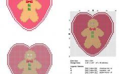 Рождество сердце с Gingerbread бесплатно схему для вышивки крестом 47 x 49 крестиков 9 цветов ниток ДМС