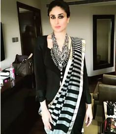 Contemporary twist to an ethnic look, so classy and chic // Kareena Kapoor Khan in dev r nil sari paired with Christian Lacroix vintage jacket Indian Attire, Indian Ethnic Wear, Indian Outfits, Indian Clothes, Indian Style, Indian Girls, Anarkali, Churidar, Lehenga