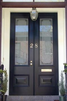 All new double leaf set of doors with T-astragal. Fully weatherstripped, with custom sand-blasted glass panels. Double Front Entry Doors, Exterior Front Doors, Glass Front Door, Sliding Glass Door, Glass Doors, Porch Windows, Porch Doors, Entrance Doors, Windows And Doors