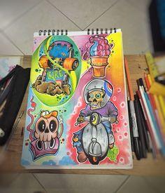 Doodle Art Drawing, Drawing Ideas, Colorful Drawings, Cool Drawings, Prague Clock, Mushroom Drawing, Colour Drawing, Tattoo Flash Sheet, Graffiti Tattoo