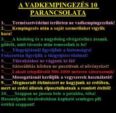 A VADKEMPINGEZÉS Tízparancsolata