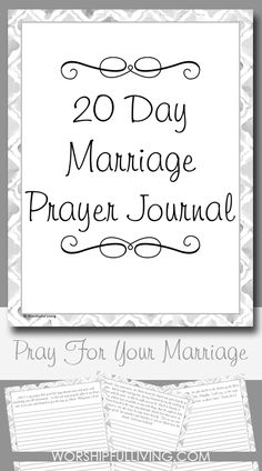 Prayer Journal:Are you looking to be more intentional about praying for your marriage? This free 20 day prayer journal will guide you through some verses to help pray for your marriage in a powerful way! Biblical Marriage, Marriage Prayer, Marriage Relationship, Marriage Advice, Love And Marriage, Relationships, Christian Wife, Christian Marriage, Christian Quotes