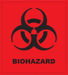 Biohazard Symbol and Text - Black on Red