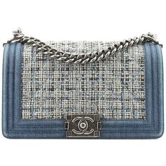 3ec7517a34dd17 Pre-Owned Chanel Boy Blue Denim Tweed Flap Shoulder Bag (72,990 MXN) ❤