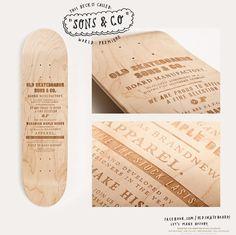 Wood + design + typographie + skateboards = stunning brand !