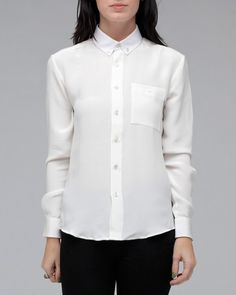 Combo Button Collar Shirt In Cream    Patrik Ervell