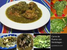 """Haven't found this Mexican dish in the US: One of the most delicious uses of """"verdolagas"""" Real Mexican Food, Mexican Food Recipes, Rice Drink Recipe, Sauce Recipes, Crockpot Recipes, Meal Recipes, Green Chile Sauce Recipe, Pork Green Chile, Deserts"""