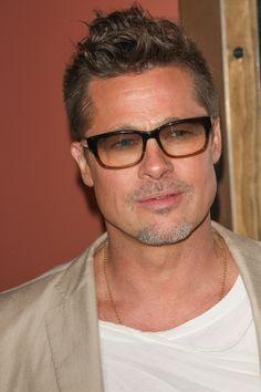 Brad Pitt - 2014, male actor, celeb, glasses, powerful face, intense eyes, portrait, photo