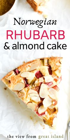 Norwegian Rhubarb and Almond Cake ~ a delicate breakfast or snack cake that features the unusual combination of tart rhubarb with almond. Just Desserts, Dessert Recipes, Health Desserts, Rhubarb Cake, Rhubarb Muffins, Almond Cakes, Almond Cake Recipes, Almond Tart Recipe, Breakfast Cake