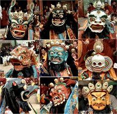 Tibetan Buddhist Masks worn in Cham (Sacred Dance)