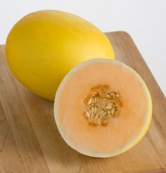 Melon Honey Yellow (Yellow) 25 Seeds by David's Garden Seeds Orange Types Of Fruit, Fruit And Veg, Fruits And Vegetables, Fruit Garden, Garden Seeds, Planting Seeds, Growing Cantaloupe, Cantaloupe And Melon, Grape Orchard