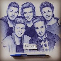 """One Direction, drawn with ballpoint pen! """"One Direction, drawn with ballpoint pen ? One Direction Fan Art, One Direction Drawings, One Direction Pictures, One Direction Memes, 0ne Direction, Louis Tomlinson, Fanart, Liam Payne, Desenhos One Direction"""