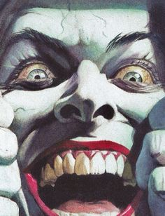 Joker by Alex Ross. Would be pretty traumatizing if you ran into joker and he looked at you like this haha. Comic Book Characters, Comic Character, Comic Books Art, Comic Art, Alex Ross, Joker Kunst, Batman Kunst, Personnage Dc Comics, Digital Art Illustration