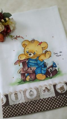 Painting Patterns, Fabric Painting, Diy And Crafts, Arts And Crafts, Janome, Woodland, Textiles, Bear, Babies