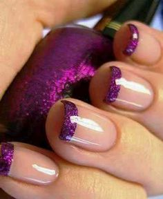 Purple, French tips, clear, nails.