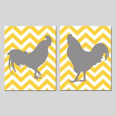 Modern Chevron Rooster Duo - Set of Two 11x14 Chevron Zig Zag Prints - Pick Your Colors - Gray, Yellow, Red, and More. $48.50, via Etsy.