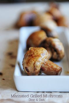 Marinated Grilled Mushrooms recipe - perfect to top a steak or as a side dish all on its own.