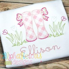 Springtime Rain Boots with Bows- Blanket - Alphalicious Embroidery Designs Machine Embroidery Projects, Embroidery Software, Applique Embroidery Designs, Machine Embroidery Applique, Free Machine Embroidery Designs, Applique Patterns, Embroidery Stitches, Embroidery Ideas, Quilt Patterns