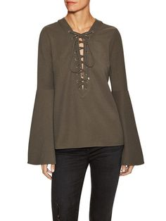 Bell Sleeve Lace Up Top by Endless Rose at Gilt