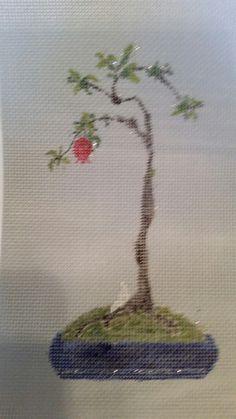 Needlepoint bonsai pomegranate