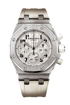 Audemars Piguet Lady Royal Oak Offshore Chronograph Watch - 26283ST.OO.D010CA.01. Stainless steel case (37mm diameter x 12.3mm thick) with octagon-shaped bezel, rubber-coated screw-down crown/push-pieces, white rubber strap with steel folding clasp, silver-white Mega Tapisserie dial with Arabic numerals, chronograph (central seconds, 30 min, 12 hr), date between 4 and 5 o'clock, 37 jewel AP caliber 2385 self-winding movement with 40 hour power reserve, water-resistant to 50 meters.