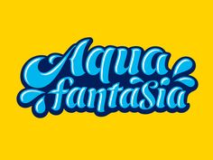 Aqua Fantasia Lettering designed by Sebastian Boros. Cool Lettering, Lettering Design, Logo Design, Yellow Words, Doodle Coloring, Letter Logo, Brand Names, Design Inspiration, Neon Signs