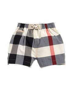 Check Swim Trunks, by Burberry at Neiman Marcus. Toddler Boy Outfits, Toddler Boys, Baby Kids, Baby Swimsuit, Kids Moves, Baby Swimming, Designer Kids Clothes, Swimsuits, Swimwear