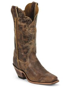 Justin Bent Rail Crackle Cowgirl Boots - Square Toe