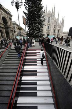 These piano subway stairs, created for the Milan music festival LiveMi, actually play music when you climb them..Designed by a team of audio specialists and industrial engineers, the piano stairs were powered by amplifiers.