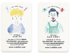 おしゃれな水彩「似顔絵名刺」職種が一目でわかるモチーフイラスト付き/u atelierオリジナル名刺/ビジネス名刺・ママ名刺・サークルチーム名刺など