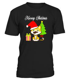 Meowy Christmas Cat in a Santa Hat T-Shirt Merry Christmas black friday shirt black friday shirts for women black friday shirt up all night to get lucky black friday shirt plus