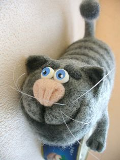 Needle Felted Toy Gray cat Soft Sculpture OOAK by TashaToys