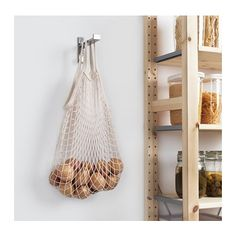 IKEA - KUNGSFORS, Net bag, set of natural, Ideal for food storage. Keeps fruits and vegetables fresh for longer since air circulates through the net bag. May also be used in high humidity areas. May be combined with other products in the KUNGSFORS series. Smart Storage, Food Storage, Onion Storage, Baking Storage, Ikea Home, Filets, Open Shelving, Home Kitchens, Ladder Decor