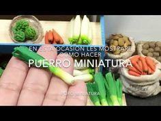 Puerro .Poro . Leek . Tutorial miniatura - YouTube Polymer Clay Miniatures, Fimo Clay, Polymer Clay Crafts, Girls Dollhouse, Diy Dollhouse, Dollhouse Miniatures, Barbie Food, Doll Food, Miniature Food