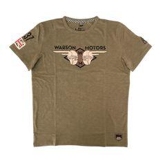 Warson Motors Heaven Riders Khaki Mens T-Shirt, S-2XL, designed and made in Europe.  Available through www.rustyunionmoto.com.au Motors, Heaven, Europe, Mens Tops, T Shirt, Fashion, Supreme T Shirt, Moda, Sky