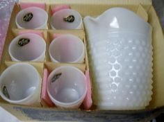 Vintage Anchor Hocking Milk Glass Hobnail Water Set in Box