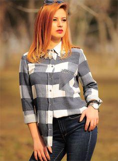Bayan Gömlek Ekoseli 2401 Lacivert| Modelleri ve Uygun Fiyat Avantajıyla | Modabenle