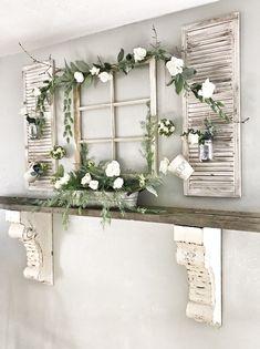 Antique Wood Mantel Shelf Window Frame a. - Antique Wood Mantel Shelf Window Frame and Flowers - Wood Mantel Shelf, Mantel Shelf, Decor, Old Shutters, Spring Decor, Window Frame, Shelf Decor, Wood Mantels, Shabby Chic Homes