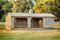 This adorable run-in shed gains even more functionality with the inclusion of a small tack room or feed storage area. Love!