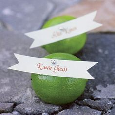 fruity place card idea, we could use lemons Lime Wedding, Green Wedding, Wedding Table, Wedding Flowers, Wedding Day, Unique Weddings, Real Weddings, Wedding Cards, Wedding Events